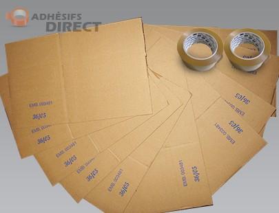 Lot de 15 cartons pour déménagement + 2 rouleaux Adhésifs PP  -  aide au demenagement