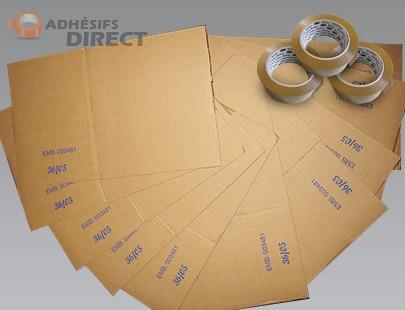 Lot de 40 cartons pour déménagement + 3 rouleaux Adhésifs PP  -  aide au demenagement