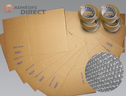 Lot de 50 cartons pour déménagement + 4 rouleaux Adhésifs PP + 1 rouleau bulles -  aide au demenagement
