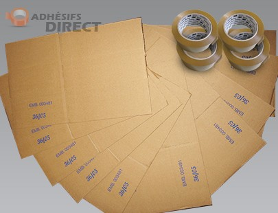 Lot de 60 cartons pour déménagement + 4 rouleaux Adhésifs PP  -  aide au demenagement