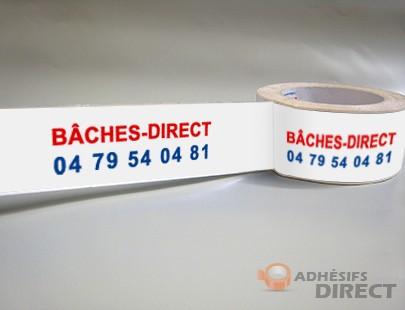 Ruban adhesif personnalisé PP HR silencieux imprimé 2 couleurs - 50mm x 66m - adhésif personnalisé - scotch personnalisé