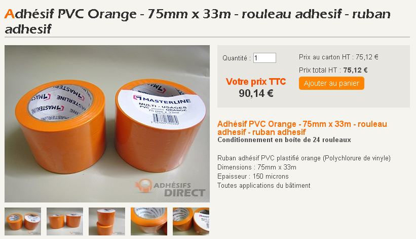 Adh sifs pvc orange id al pour jointer laine de verre for Adhesif laine de verre